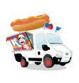funny hot dog van parked and friendly man serving vector image