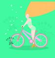 girl on bike in spring vector image