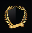 gold and black shield with gold laurels 10 vector image vector image