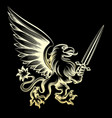 golden heraldy gryphon with sword vector image