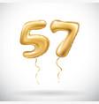 golden number 57 fifty seven metallic balloon vector image vector image
