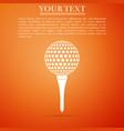 golf ball on tee icon on orange background vector image vector image