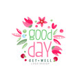good day get well logo design element can vector image