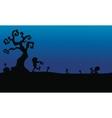 Halloween zombie in tomb silhouette vector image vector image