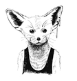 Hand drawn dressed up fennec in hipster style vector image vector image