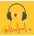 Headphones with red cord in shape of cardiogram vector image vector image