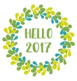 Hello 2017 New Year green wreath isolated vector image