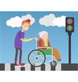 Kind boy helps old lady in wheelchair vector image vector image