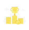 large trophy on gold coins podium business vector image vector image