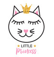 little cute cat princess vector image vector image