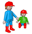 little people toys on white background vector image vector image