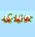 m n o letters surrounded summer tropical leaves vector image