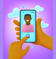man making video call to his friend comic 3d style vector image