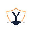 modern shield letter y vector image vector image