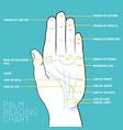 palm reading chart palmistry map of the palms vector image