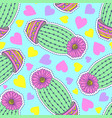 pattern with cactuses and hearts vector image