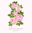 pink and beige roses and green leaves greeting vector image vector image