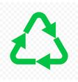 recycle eco icon green triangle arrow bio recycle vector image vector image