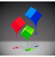 RGB cubes with blobs on grey background vector image vector image