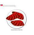 rokt laks or smoked salmon a popular food in norw vector image