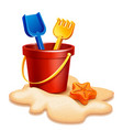 sand bucket shovel and rake vector image vector image