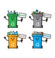 set trash can character design vector image