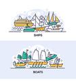 ships and boats banner templates set vector image