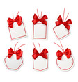 tags with red bows blank white price vector image vector image