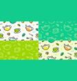 tea pattern green leaf cup pot memphis outline vector image
