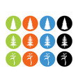 tree set flat icons for web and mobile eps 10 vector image