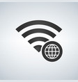 wifi connection signal icon with globe icon in vector image vector image