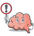 with sign brain character cartoon mascot vector image vector image
