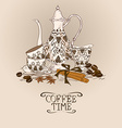 with vintage coffee service vector image vector image