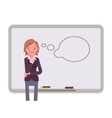 Woman against the whiteboard with drawn dialogue vector image vector image