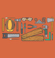 woodworker workplace top view banner vector image vector image