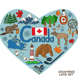 Canadian symbols in heart shape concept vector image
