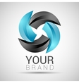 abstract logo black turquoise 3d icon vector image
