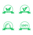 vegetarian logos set green food symbols vector image