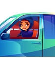 arabian woman driving car vector image vector image