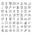 architect equipment icons set outline style vector image