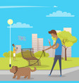 boy walks with dog in park and uses smartphone vector image vector image