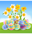 Cartoon of colorful Easter eggs vector image vector image