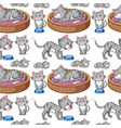 cat on seamless background vector image vector image