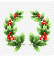 christmas holly wreath realistic vector image