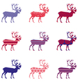 Christmas reindeer silhouette with ornament vector image vector image