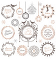 christmas winter wreath vintage calligraphic vector image vector image