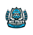 colorful emblem logo military skull in helmet vector image vector image