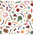 colorful seamless pattern with sliced food vector image