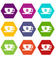 cup of tea with tea bag icon set color hexahedron vector image vector image