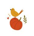 cute bird singing on a pumpkin autumn vibes vector image vector image
